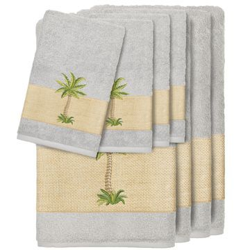 Authentic Hotel and Spa Turkish Cotton Palm Tree Embroidered Grey 8-piece Towel Set