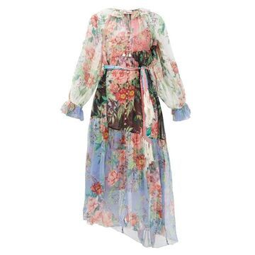 Zimmermann - Bellitude Floral-print Silk-chiffon Maxi Dress - Womens - Multi