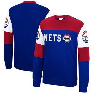 Men's Mitchell & Ness Blue New Jersey Nets Perfect Season Fleece Pullover Sweatshirt