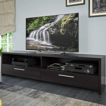 CorLiving Fernbrook Black Faux Wood TV Stand (Black Faux Wood, up to 85