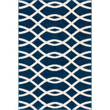 Well Woven Mystic Poofy Moderm Geometric Lines Blue 7'10