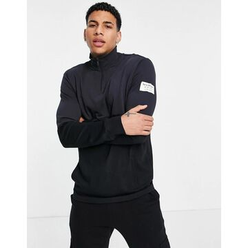 Only & Sons organic cotton quarter zip sweat in contrast navy