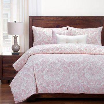 SIScovers Modern Farmhouse Parlour Full Duvet Cover Set in Pink/Beige
