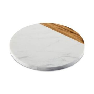 """Anolon Pantryware White Marble & Teak Wood 10"""" Round Serving Board"""