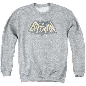 BMT106-AS-5 Batman Classic TV Show Logo-Adult Crewneck Sweatshirt, Athletic Heather - 2X