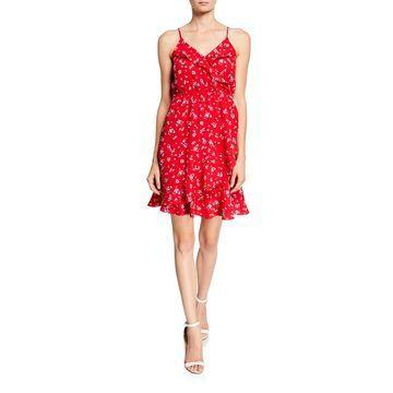 Floral Ruffle Faux-Wrap Dress