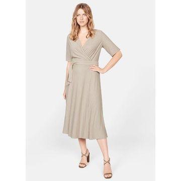 Violeta BY MANGO - Striped wrap dress beige - 16 - Plus sizes