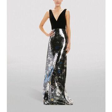 Monique Lhuillier Velour Daisy Print Sequin Gown