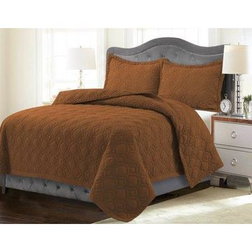 Tribeca Living Lyon Solid Oversized Quilt Set Queen Glazed Ginger