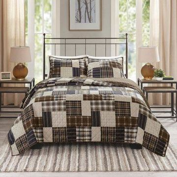 Home Essence Hilltop 3 Piece Reversible Printed Coverlet Set