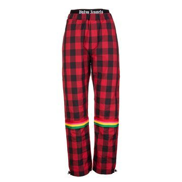 Palm Angels Woman Black And Red Check Buffalo Joggers