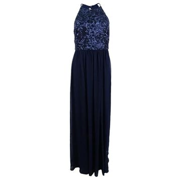 Vera Wang Women's Cutout Back Sequin & Chiffon Gown - Navy