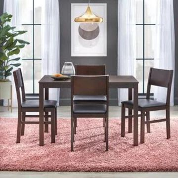 Simple Living Templeton 5-piece Wood Dining Set (Espresso/Black Faux Leather)