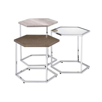 ACME FURNITURE Simno Nesting Tables in Clear Glass, Taupe, Gray Washed and Chrome Finish   82105