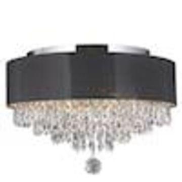 Worldwide Lighting Gatsby 16-in Chrome Crystal Flush Mount Light