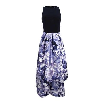 SL Fashions Women's Floral-Print High-Low Dress - Black/Lilac