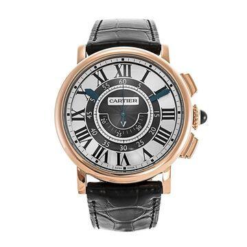 Cartier Men's W1555951 'Rotonde De Cartier' Chronograph Black Leather Watch