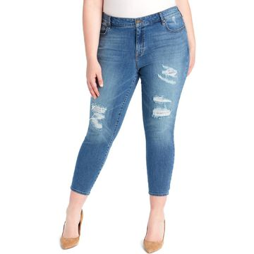 William Rast Womens Plus Distressed High Rise Ankle Jeans