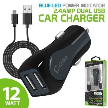 Cellet Rapid Charge 12 Watt / 2.4 Amp Dual USB Car Charger with Micro USB Cable - Black