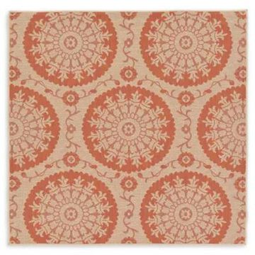 Unique Loom Medallion 6' x 6' Indoor/Outdoor Area Rug in Beige/Terracotta
