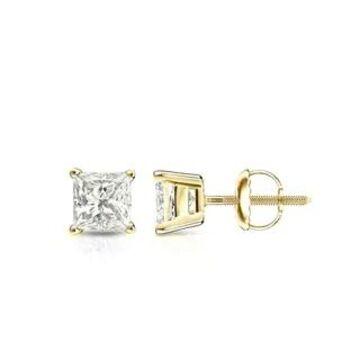 Auriya 14k Gold 1/2ctw Princess-cut Diamond Stud Earrings (Yellow)