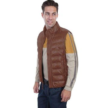 Scully 619-10-XXL Ribbed Leather Vest Premium Lamb, Conac - 2XL