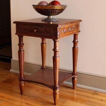International Caravan Windsor Hand-carved 2-tier Table with Drawer (Wood)