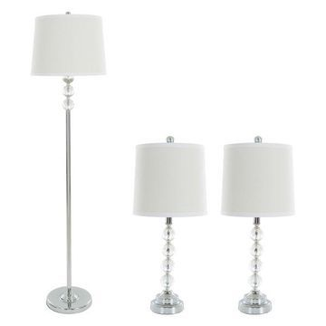 Table Lamps & Floor Set of 3, Crystal Balls, w/ 3 LED Bulbs by Lavish