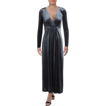 Avec Les Filles Womens Velvet Plunging Maxi Dress