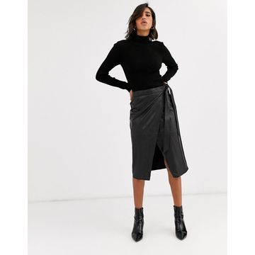 Y.A.S leather wrap midi skirt-Black