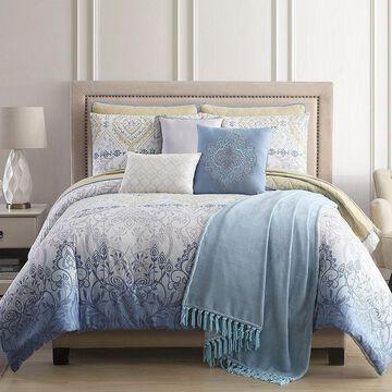 Pacific Coast 10 Piece Comforter/Coverlet Set - Paragon, Blue, Queen