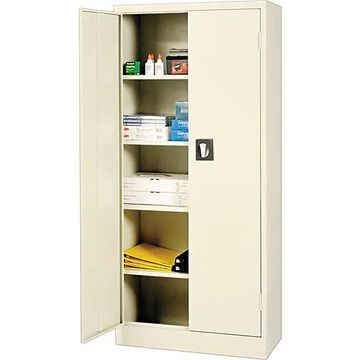 """Alera Space Saver Storage Cabinet with Fixed Shelves, Putty, 66"""" H x 30"""" W x 15"""" D"""
