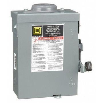 SQUARE D DU222RB 60 Amps AC 240VAC Single Throw Safety Switch 2PST
