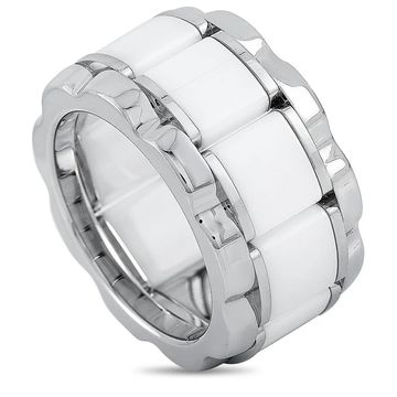 Tag Heuer Stainless Steel and Ceramic 0.007 ct Diamond Ring Size 8.5 (White - 8.5)