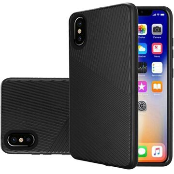 Insten Embossed Lines Hard Snap-in Case Cover For Apple iPhone XR - Black