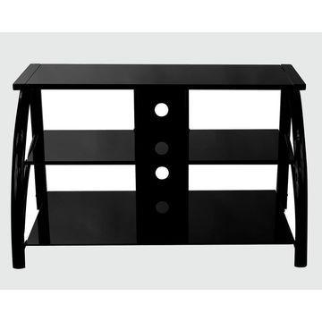 Offex Stilletto TV Stand - Black / Black Glass