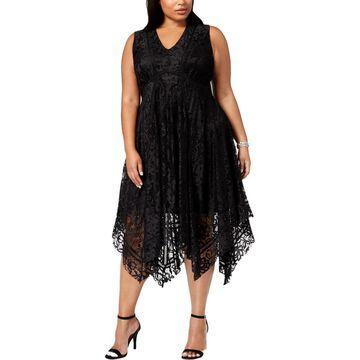 Taylor Womens Plus Cocktail Dress Lace V Neck