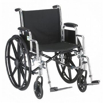 Nova 20 inch Steel Wheelchair with Detachable Desk Arms and Footrests