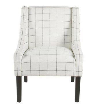 HomePop Modern Swoop Accent Armchair, White Plaid