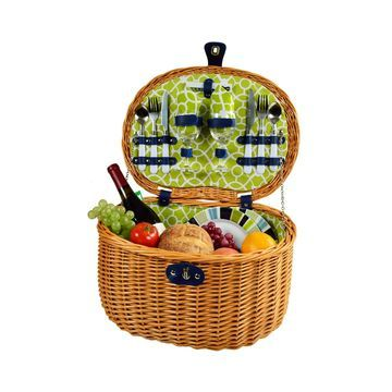 Ramble Willow Picnic Basket with Service for 2 - Print Lining