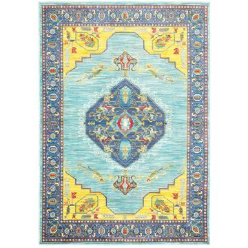 Style Haven Old World-inspired Medallion Blue/Yellow Area Rug (9'10 x 12'10) - 9'10