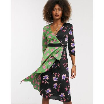 Liquorish wrap front mini dress in mixed floral print-Multi