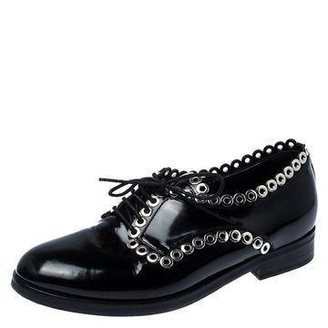 Alaia Black Grommet Embellished Patent Leather Lace Up Oxfords Size 38