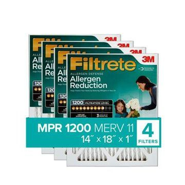 Filtrete 14x18x1, Allergen Reduction HVAC Furnace Air Filter, 1200 MPR, Pack of 4 Filters