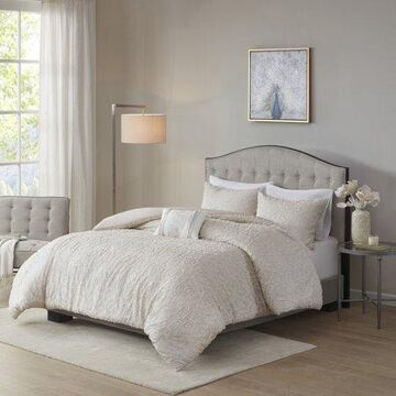 Home Essence Sophie 4 Piece Cotton Comforter Set, Full/Queen, Light Taupe