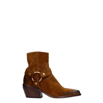 Elena Iachi Texan Ankle Boots In Leather Color Suede