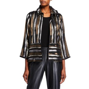 Tonal Stripe Jacquard Ruched Collar Jacket