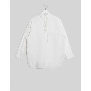 Weekday Marlene organic cotton tie-back shirt in white