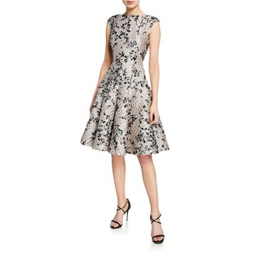 Floral Brocade Fit & Flare Dress