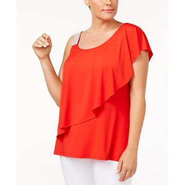 Plus Size Studded-Strap Ruffled Top